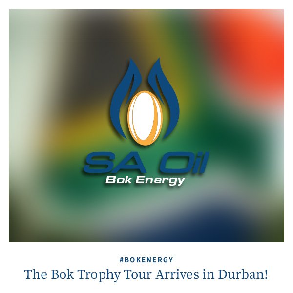 SA Oil supports the South African national rugby team on their Durban parade with the Webb Ellis trophy after the Rugby World Cup
